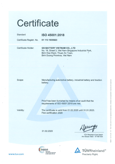 ISO 45001 Certificate (  ISO 45001 is Occupational Health and Safety Management Systems )
