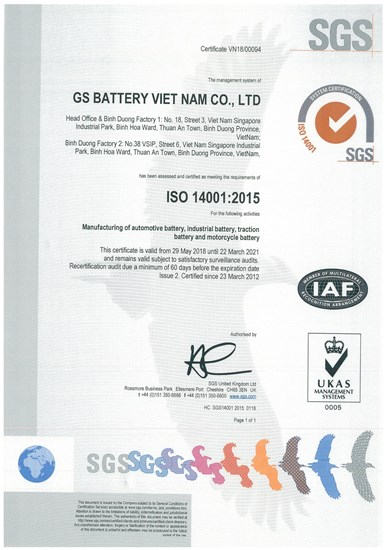 CERTIFICATE OF ISO 14001