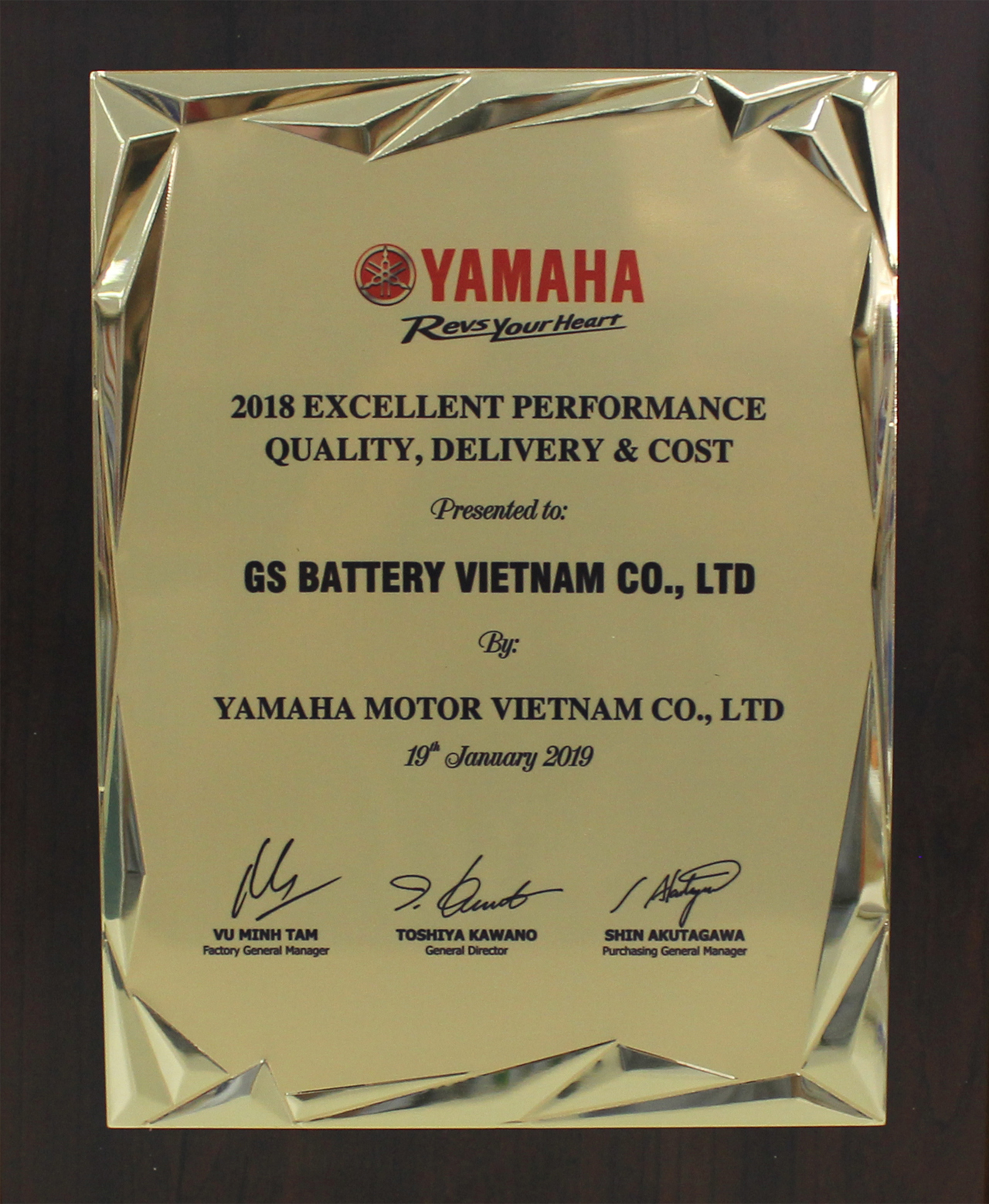 "GSV WAS HONORLY AWARDED THE CERTIFICATE FOR ""2018 EXCELLENT PERFORMANCE QUALITY, DELIVERY & COST"" BY YAMAHA MOTOR VIETNAM"
