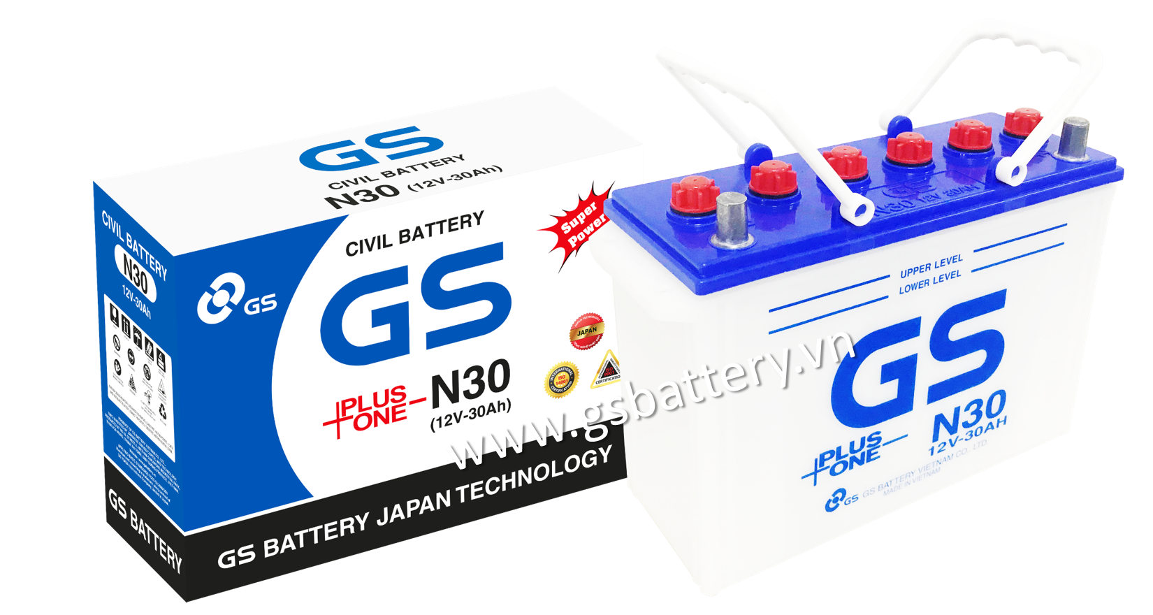 GS Civil Battery N30 (12V-30Ah)