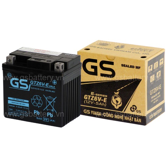 Bình điện xe máy GS GTZ6V-E dành cho xe Honda, Yamaha